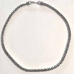 .925 Sterling Silver Bali popcorn chain necklace